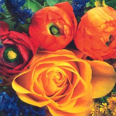 Lunch Servietten Ranunculus y Rosa Amarilla,  Blumen - Rosen,  Everyday,  lunchservietten,  Rosen