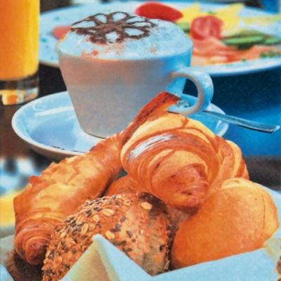 Servietten,  Getränke Kaffee / Tee,  Essen - Brot / Brötchen,  Everyday,  lunchservietten,  Brot,  Kaffee,  Tee,  Croissant