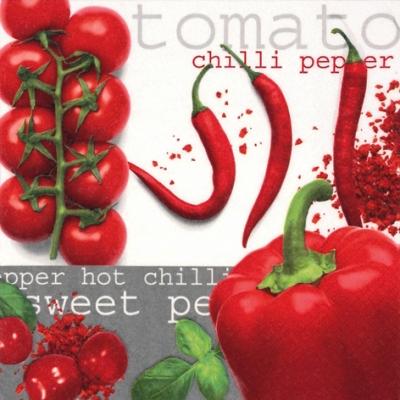 Lunch Servietten Tomato&Chilli&Pepper,  Gemüse - Tomaten,  Gemüse - Chili,  Everyday,  lunchservietten