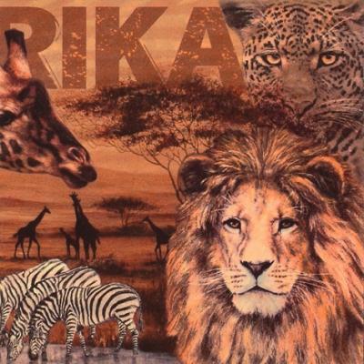 20 Servietten - 33 x 33 cm Africa Collage,  Tiere - Löwen,  Sonstiges - Schriften,  Regionen - Afrika,  Everyday,  lunchservietten,  Zebras,  Geparden