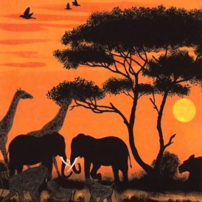 20 Servietten - 33 x 33 cm Okawango Park,  Tiere - Elefanten,  Tiere - Giraffen,  Regionen - Afrika,  Everyday,  lunchservietten,  Paviane