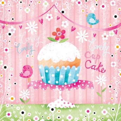 Lunch Servietten Lovely Cup Cake,  Blumen -  Sonstige,  Tiere - Vögel,  Essen - Kuchen / Keks,  Everyday,  lunchservietten,  Muffins,  Blumen,  Vögel