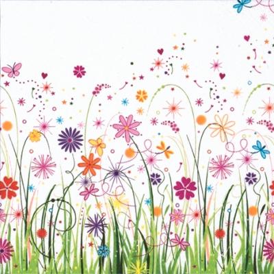 Lunch Servietten Enchanted Floral Meadow,  Blumen -  Sonstige,  Blumen,  Everyday,  lunchservietten,  Blumen,  Schmetterlinge,  Muster