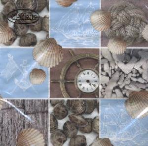 Servietten 33 x 33 cm,  Regionen - Strand / Meer -  Sonstige,  Regionen - Strand / Meer - Muscheln,  Everyday,  lunchservietten,  Muscheln