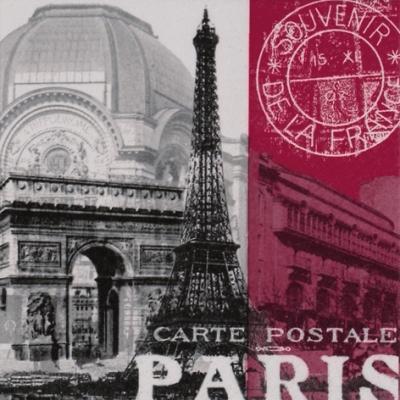 20 Servietten - 33 x 33 cm ,  Regionen - Länder - Frankreich,  Regionen - Länder - Städte,  Everyday,  lunchservietten,  Paris,  Eifelturm,  Arc de triumph