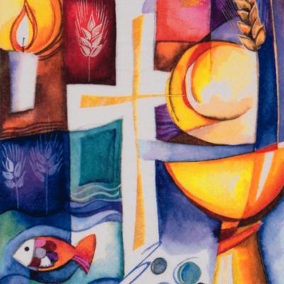 Lunch Servietten Colourful Confirmation,  Ereignisse - Kommunion,  Everyday,  lunchservietten,  Fisch,  Getreide,  Ähren,  Kelche