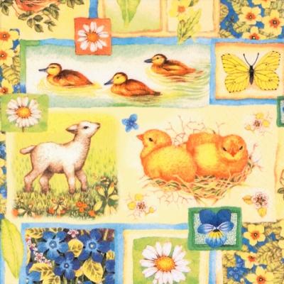 Lunch Servietten Springtime Collage,  Blumen - Stiefmütterchen,  Tiere - Kücken,  Blumen - Primeln,  Ostern,  lunchservietten