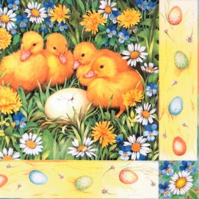 Lunch Servietten Four Ducklings, Ostern - Ostereier,  Blumen -  Sonstige,  Regionen - Wald / Wiesen,  Ostern - Kücken,  Ostern,  lunchservietten,  Entenkücken,  Ostereier,  Blumen