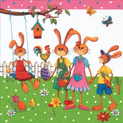 Lunch Servietten Famiglia Lepre Nel Giardino,  Ostern - Huhn / Hahn,  Tiere - Schmetterlinge,  Ostern - Hasen,  Ostern,  lunchservietten,  Hasen,  Hahn,  Blumen,  Möhren,  Ostereier