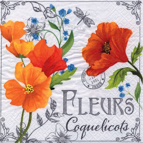 Lunch Tovaglioli Fleurs de Coquelicots