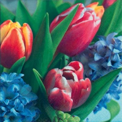 Lunch Servietten Tulipan & Hyacinth,  Blumen - Hyazinthen,  Blumen - Tulpen,  Frühjahr,  lunchservietten,  Tulpen,  Hyazinthen