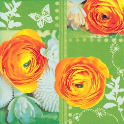 Lunch Servietten Easterly Buttercup Collage green,  Blumen -  Sonstige,  Frühjahr,  lunchservietten,  Ranunkeln