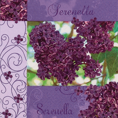 20 Servietten - 33 x 33 cm Serenella,  Blumen - Flieder,  Frühjahr,  lunchservietten,  Flieder